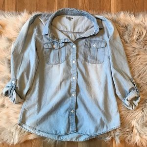 Charlotte Russe Chambray Button Down Shirt